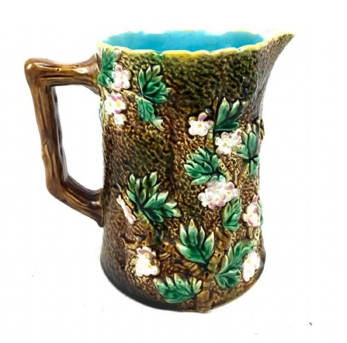 George Jones Majolica Pottery Blossom Pitcher Jug / Vase / 19th Century Antique